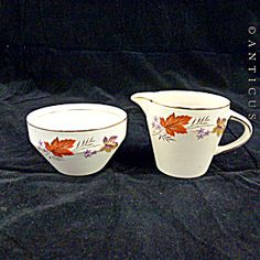 Palissy Autumn Flame Vintage Creamer And Sugar.