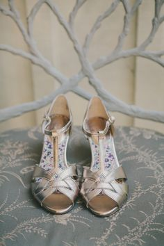 gold wedding shoes, photo by Fondly Forever http://ruffledblog.com/intimate-big-sur-wedding #bridal #wedding #shoes