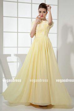 Custom made yellow high neck chiffon appliques by vegasdress, $137.99