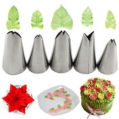 Buy Mujiang 5 Pcs Set Leaves Nozzles Stainless Steel Icing Piping Nozzles Tips Pastry Tips For Cake Decorating Pastry Fondant Tools Cake Decorating Piping, Creative Cake Decorating, Cake Decorating Tools, Cake Decorating Techniques, Creative Cakes, Cookie Decorating, Decorating Ideas, Christmas Cupcakes Decoration, Fondant Decorations