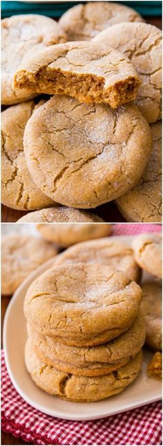 Super soft and chewy brown sugar cookies no mixer required! Recipe on sallysba - Mixer - Ideas of Mixer - Super soft and chewy brown sugar cookies no mixer required! Recipe on sallysbakingaddic Cookie Desserts, Just Desserts, Cookie Recipes, Delicious Desserts, Dessert Recipes, Yummy Food, Healthy Food, Easy Baking Recipes, Baking Ideas