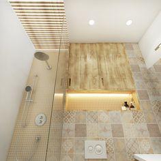 Сделать стены и потолок в маленькой ванной менее давящими поможет подсветка, рекомендует дизайнер. Например, здесь светодиодную подсветку разместили в нише под ванной, над полочкой и между деревянными брусками на потолке в зоне душевой — получился «парящий потолок». Единственное, дерево нужно выбирать с влагостойкой обработкой.
