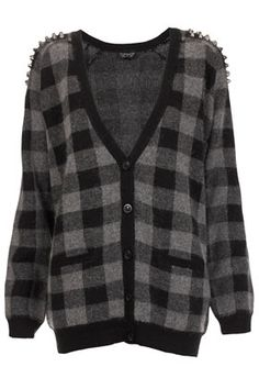 Knitted Stud Check Cardigan