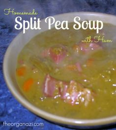 How to make homemade split pea soup with ham hocks. This recipe is easy to make.