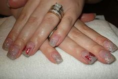 LCN #gelnails #bling #silver #red #christmas #bows