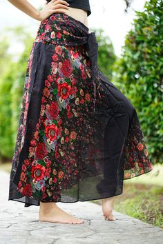Flower Bohemian Skirt Gypsy hippy style One Size Fits Black