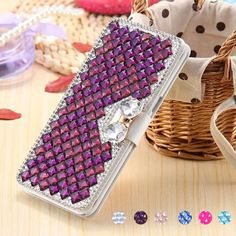 Fashion 3D Bling Diamond Bowknot Crystal Wallet Flip PU Leather Case Cover  | eBay