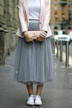 Pastel pink blazer, grey tulle skirt and Converse, my kind of 'girly'