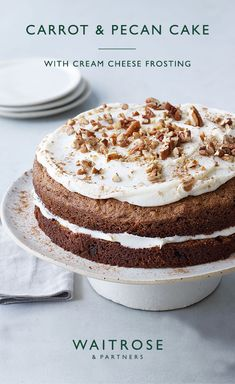 Smooth cream cheese frosting layered between spiced carrot sponge. Make this cake nut free, by removing the pecans from the mix. Tap for the full Waitrose & Partners recipe. Fruit Recipes, Baking Recipes, Sweet Recipes, Dessert Recipes, Layer Cake Recipes, Frosting Recipes, Waitrose Food, Rhubarb Cake, Basic Cake