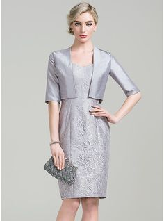 Sheath/Column Sweetheart Knee-Length Lace Mother of the Bride Dress (008085306)
