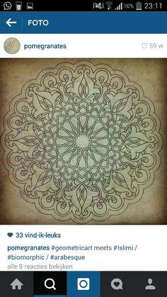 ww Islamic Art Pattern, Mandala Pattern, Pattern Art, Pattern Design, Mandala Stencils, Arabic Art, 3d Drawings, Thread Crochet, Geometric Art