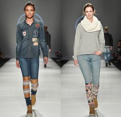 Triarchy Denim Jeans 2015-2016 Fall Autumn Winter Womens Runway Catwalk Looks - World MasterCard Fashion Week Toronto Canada - Camp Counselors Decals Patchwork Jumpsuit Emblems Bomber Varsity Jacket Leather Patches Chambray Onesie Jumpsuit Boiler Suit Coveralls Espadrilles Ankle Boots Outerwear Long Sleeve Blouse Tribal Knit Sweater Jumper Pullover Cap Scarf Leg Panels