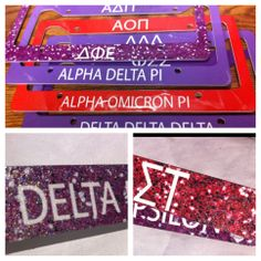 sorority glitter license plate frames w/ REAL GLITTER!!! Alpha Omicron Pi, Kappa Kappa Gamma, Alpha Delta, Greek Girl, License Plate Frames, Girls Shopping, Sorority, First Love, Trending Outfits