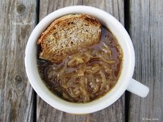 Onion Soup. From its humble beginnings—poor people's food in ancient Rome—to its 20th-century vogue, this soup's goodness increases with the amount of time you take to prepare it. There are luxuriously complex flavors locked away in these roots. Coaxing them out requires courtship, something deeper than a fast-food fling.