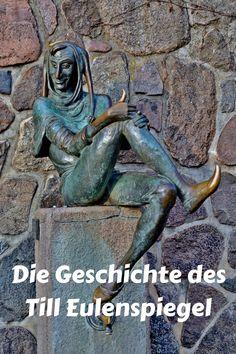 """Die Geschichte des Till Eulenspiegel, des wohl bekanntesten Narrs der europäischen Kulturgeschichte. Mehr dazu auf meinem Blog oder auf der KulturApp: """"Der Leiermann"""" Garden Sculpture, Lion Sculpture, Statue, Blog, Outdoor, Classical Music, Visual Arts, Literature, Culture"""
