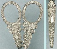 Antique Sterling Silver Filigree Design Embroidery Scissors in Sheath; Circa 1850