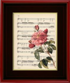 """Art Print - Lovely Pink Rose - 8 1/2"""" x 11"""" Music Page - Art Print on Upcycled Music Page on Etsy, $7.00"""