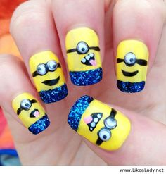 Glittery Minion Nails (Not Really my style but I <3 the Blue Glitter contrast with the Bright Yellow).