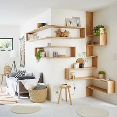 Custom wall shelves with oak wall shelves 90 x euros; 150 x 40 square brackets, euros and aluminum shelves fittings, x euros at Leroy Merlin. Source by emilie_trouillo Decor, Diy Decor Projects, Oak Wall Shelves, Living Room Colors, Rustic Living Room, Interior Design, Home Decor, Home Deco, Interior Design Living Room Warm