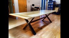 Poplar and steel conference table