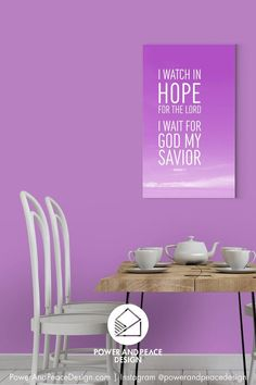 I watch in hope for the Lord. I wait for God my Savior. Micah 7:7 This encouraging warm purple Christian wall art reminds us to watch and wait patiently for God to act. #nursery #lavender #lavenderwalls #babyroom #purple #purplewalls #Bible #Scripture #Bibleverse #Micah #Micah7 Purple Art, Purple Walls, Christian Wall Art, Christian Gifts, Purple Furniture, Lavender Walls, Purple Home Decor, Bible Verse Wall Art, Savior