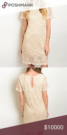 Ships Tuesday! Champagne longer length lace dress! Elegant and chic- this shift dress features short sleeves - full intricate lace design and keyhole back closure Dresses