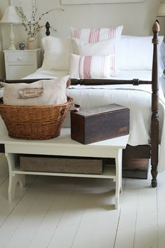 Bench, french linens, cottage bedroom