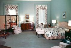 One of Mamie Eisehower's bedrooms. Love the light blue with the pink. #1950s #vintage