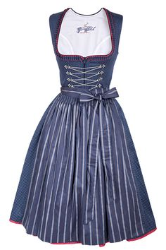Midi Dirndl Lara of cotton in dark blue with red roses