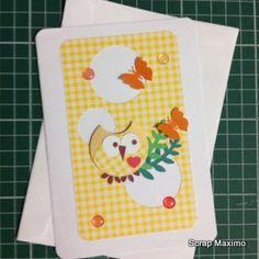 cartão corujinha em scrapbooking