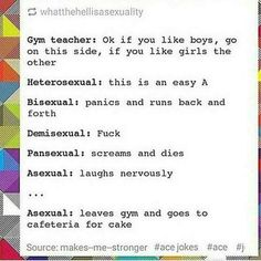 My favorite part is that the asexual always goes to get cake