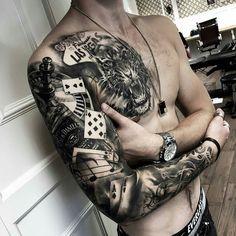 Las Vegas sleeve by @bjarke.andersen at @sinnersinc in Aarhis Denmark #bjarkeandersen #sinnersinc #aarhis #denmark #lasvegas #vegas #lasvegastattoo #tigertattoo #gamblingtattoo #roulettetattoo #jackdanielstattoo #pokertattoo #tattoo #tattoos #tattoosnob