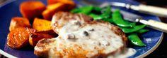 Côtelettes de porc aux champignons et aux patates douces en deux étapes