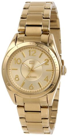 Tommy Hilfiger Women's 1781278  Casual Sport Gold-Plated 3-Hand Watch *** Find out more about the great product at the image link.