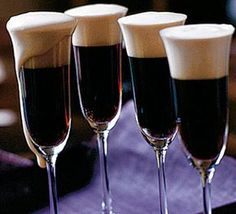 Black Velvets for St Patrick's Day.  Guinness and Champagne.  Invented in 1861 at Brook's Club in London. Prince Albert had died, everyone was in mourning. The story goes that the steward at the club, overcome  with the emotion of the occasion, ordered that even the champagne should be put into mourning and proceeded to mix it with Guinness.
