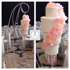 A Chihuly glass inspired hanging wedding cake with pulled sugar flowers and spiral tendrils! Icing Cake Design, Cake Designs, Wedding Table, Our Wedding, Wedding Cakes, Wedding Ideas, Chandelier Cake, Sugar Flowers, Cupcake Cakes