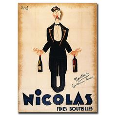 Nicolas Fines Bouteilles-Gallery Wrapped 18x24 Canvas Art