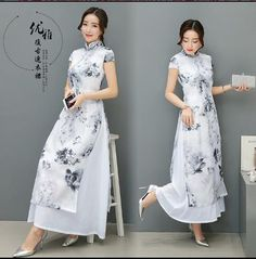 2017 New Spring Vietnam ao dai Art painting Cheongsam dress