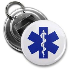 Blue EMT EMERGENCY MEDICAL TECHNICIAN Symbol Fire Rescue Heroes 2.25 inch Button Style Bottle Opener with Key Ring by Creative Clam. $4.25. This 2.25 inch Button Style Bottle Opener with Key Ring makes a great gift for yourself or someone you know. ~ This artwork can also be featured on some or all of the following products offered by Creative Clam ~ Coffee Mugs | License Plates | Patches | Ornaments | Earrings | Key Chains | Fridge Magnets | Buttons | Pocket Mirrors | Dog...