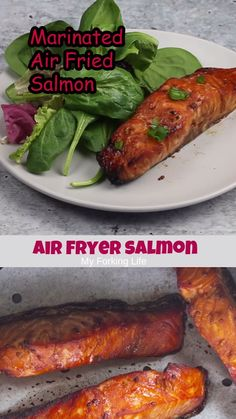 Air Fryer Salmon recipe is marinated in an easy and delicious sauce and the. - Easy cooking recipes -This Air Fryer Salmon recipe is marinated in an easy and delicious sauce and the. Air Fryer Recipes Salmon, Air Fryer Dinner Recipes, Air Fryer Oven Recipes, Salmon Recipes, Seafood Recipes, Cooking Recipes, Healthy Recipes, Cooking Tips, Air Fryer Rotisserie Recipes