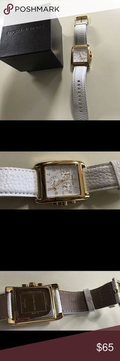 Michael Kors watch Michael Kors watch used once & in a perfect condition. It comes with box & it's a gorgeous watch for ladies. Can go with any outfits & it's a white leather strap. MICHAEL Michael Kors Accessories Watches