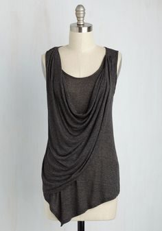 Draped in Delight Tank Top in Charcoal - Knit, Grey, Solid, Minimal, Tank top (2 thick straps), Good, Scoop, Ruching, Grey, Sleeveless, Best Seller, 4th of July Sale, Long, Summer
