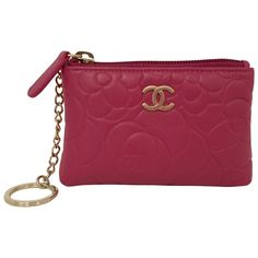 chanel key holder. chanel fuchsia camellia stamped leather o-key holder key