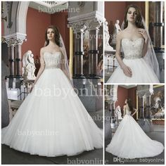 2014 Spring Summer White Ball Gown Wedding Dresses Sexy Cheap Crystals Beaded Organza Button Covered Back Chapel Train Bridal Gowns JA 8724 Online with $157.39/Piece on Babyonline's Store | DHgate.com