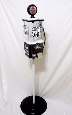 vintage Oak Route 66 gumball machine gas pump with Stand