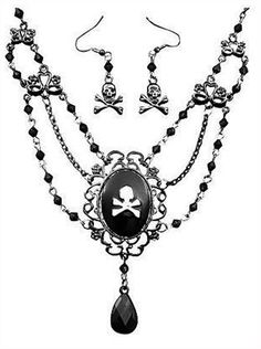 Costumes! Pirate Cameo and Earring Costume Set Gunmetal #BAC