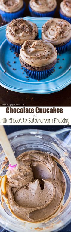 Homemade Chocolate Cupcakes with Milk Chocolate Buttercream Frosting #desserts #recipe #cupcakes