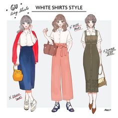 meeco/みーこさんはInstagramを利用しています:「白シャツの着まわしコーデ✨GUのエアリーコーデ(オフホワイト)を使ったコーデです。  #イラスト #イラストレーター #イラストグラム #イラストエッセイ #ファッション #ファッションコーデ #ファッションイラスト #シャツコーデ #シャツ #gu」 Girl Fashion Style, Cute Fashion, Fashion Art, Fashion Design, Anime Outfits, Girl Outfits, Cute Outfits, Cute Art Styles, Chibi Girl