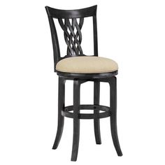 'Embassy' Rubbed Black Lace-woven Back Stool - more of a traditional look - could update seat fabric.  $211