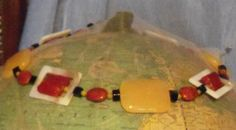 Yellow jasper square shell with red glass and by earthborngoddes, $25.00